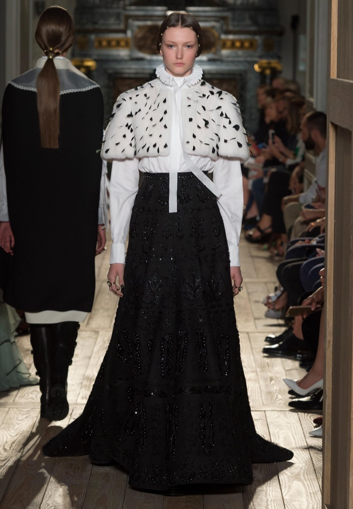 Valentino Haute Couture Fall 2016: Capelet worn over high-collar blouse and embroidered maxi skirt