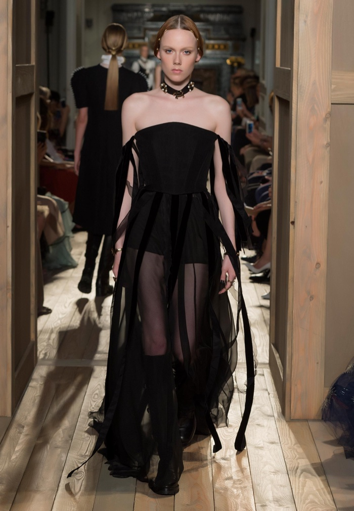 Valentino Haute Couture Fall 2016: Off the shoulder gown with sheer skirt