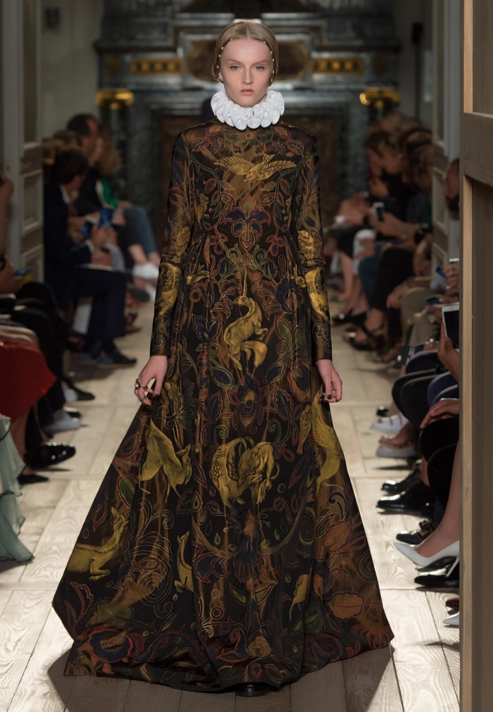 Valentino Haute Couture Fall 2016: Embroidered gown with long sleeves worn with Elizabethan collar