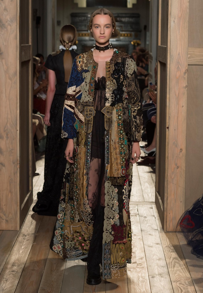 Valentino Haute Couture Fall 2016: Embroidered coat with sheer dress