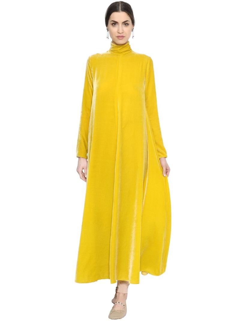 Valentino Viscose Silk & Velvet Turtleneck Dress