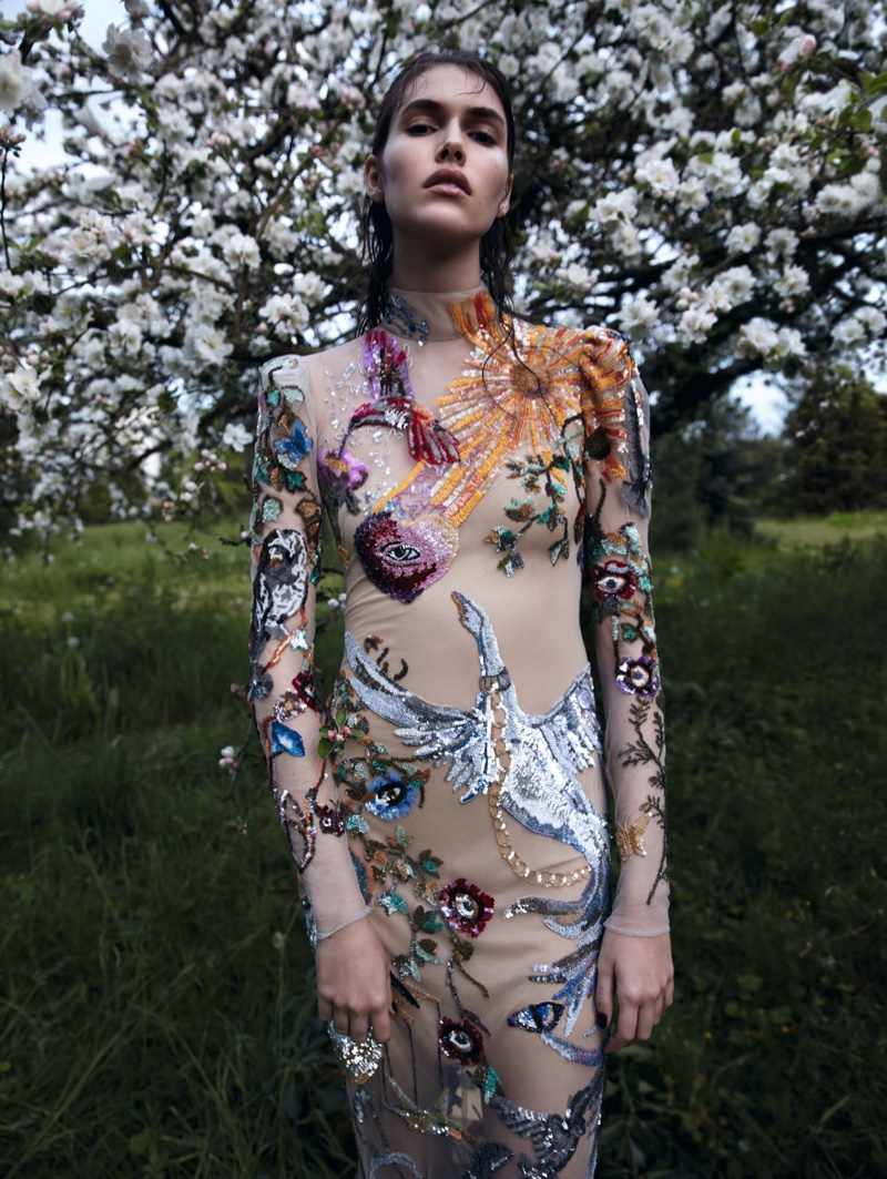 Vanessa Moody models embellished gown with floral detail