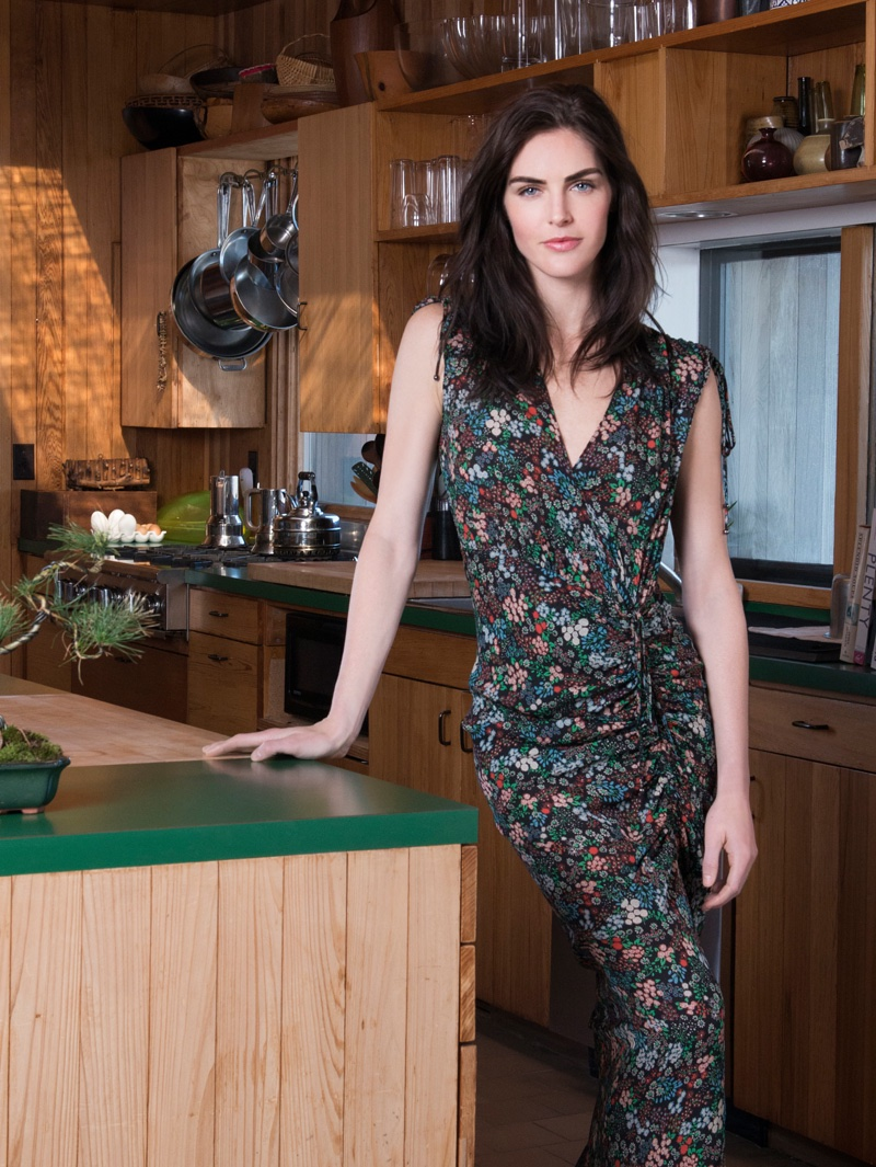 Hilary Rhoda models ruched midi dress in Veronica Beard's fall 2016 campaign