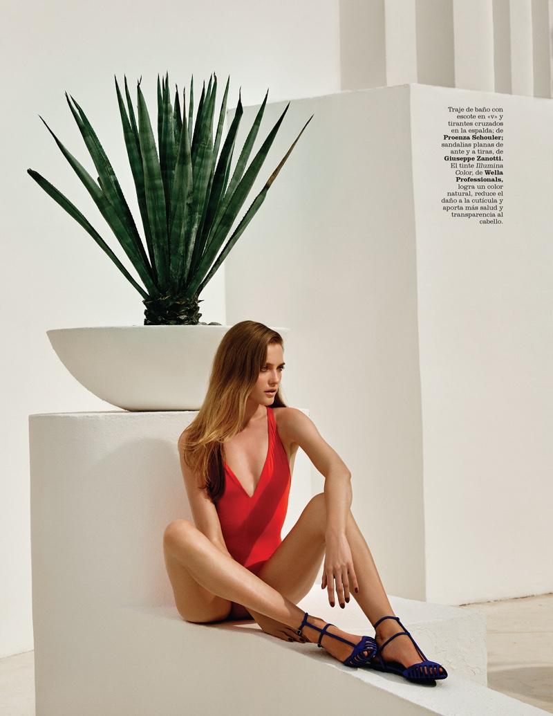 Vlada Roslyakova wears Proenza Schouler red swimsuit with Giuseppe Zanotti sandals