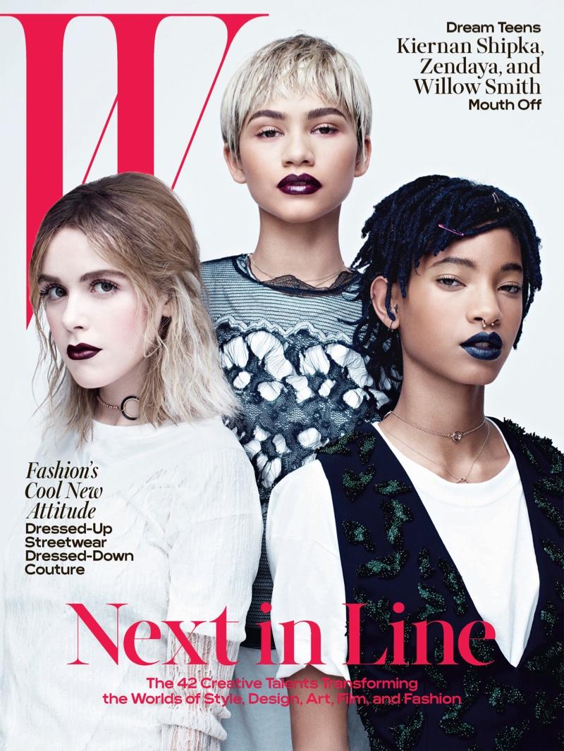 Kiernan Shipka, Zendaya and Willow Smith on W Magazine April 2016 Cover
