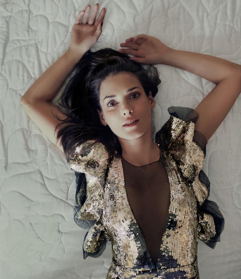 Winona Ryder wears an Alexander McQueen dress