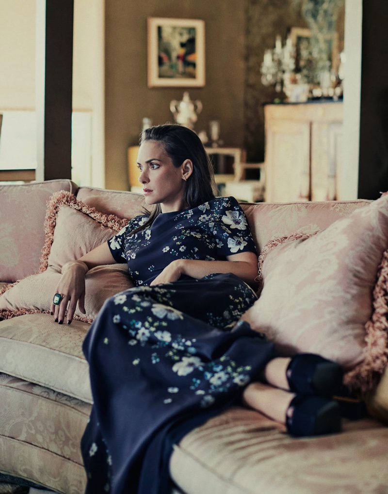 Winona Ryder lounges in Erdem dress with Giuseppe Zanotti pumps