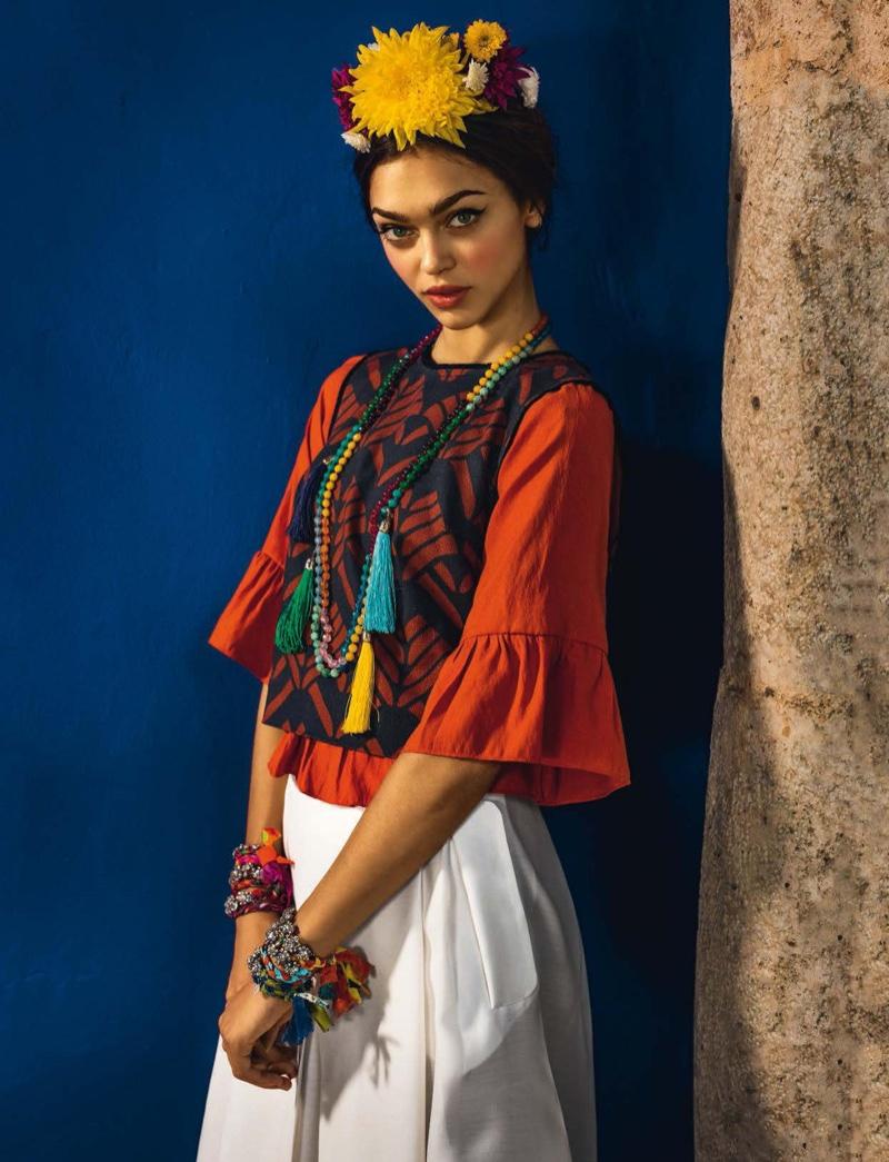 Zheyna Katava wears Mexican inspired folk style in the editorial