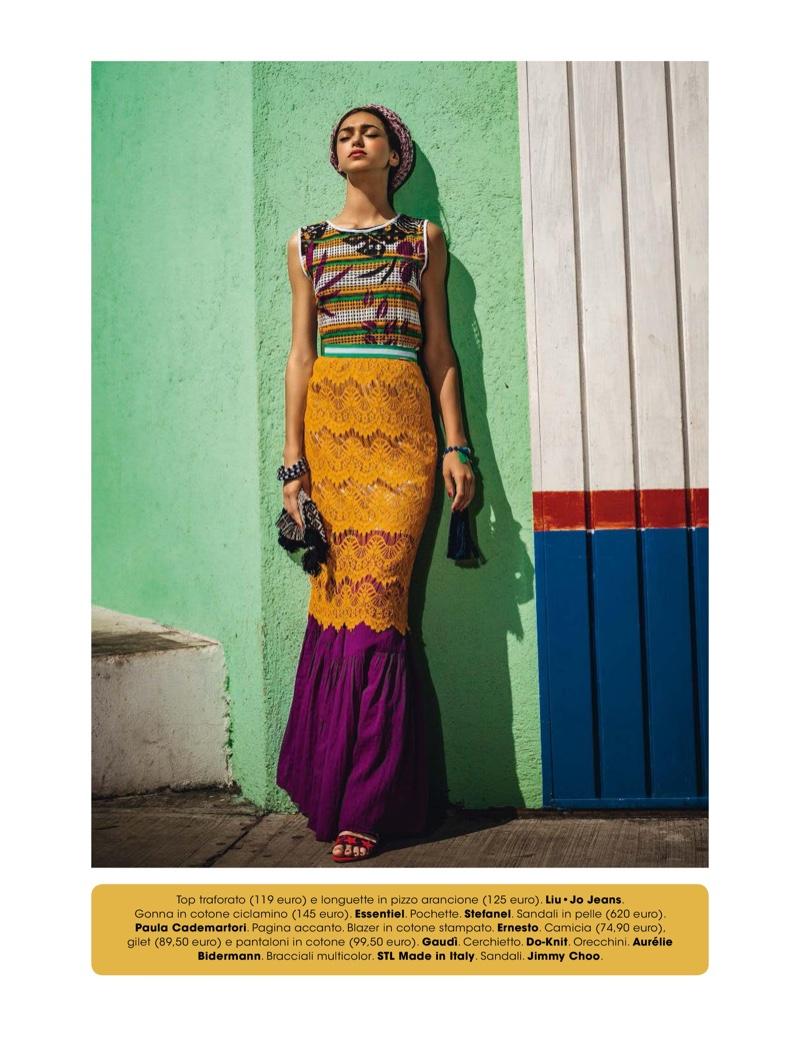 Zhenya Katava wears embellished top and skirt from Liu Jo Jeans
