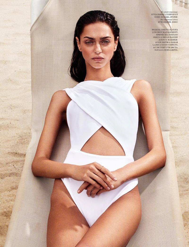 In the editorial, the model hits beach in one-piece swimsuits