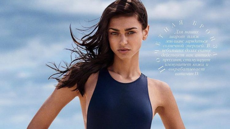 Zhenya Katava Hits the Beach for Harper's Bazaar Kazakhstan