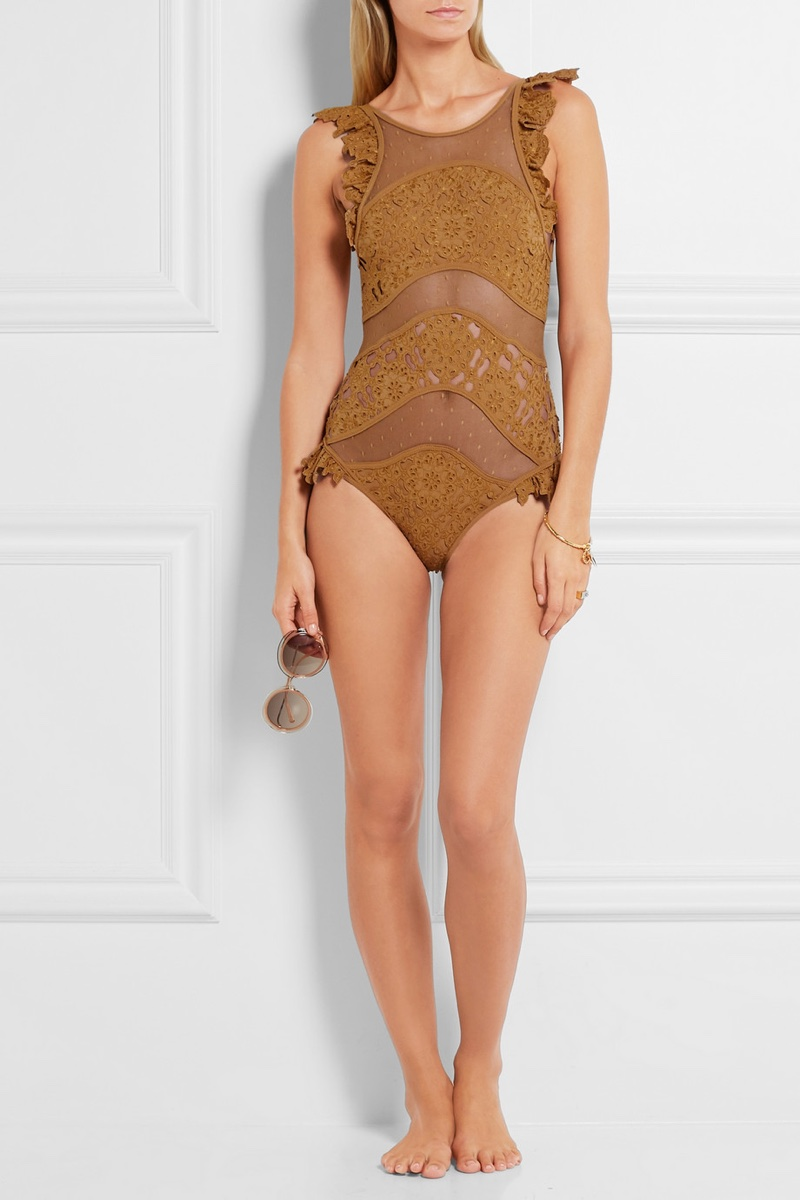 Zimmermann Plume Ruffled Broderie Anglaise Swimsuit