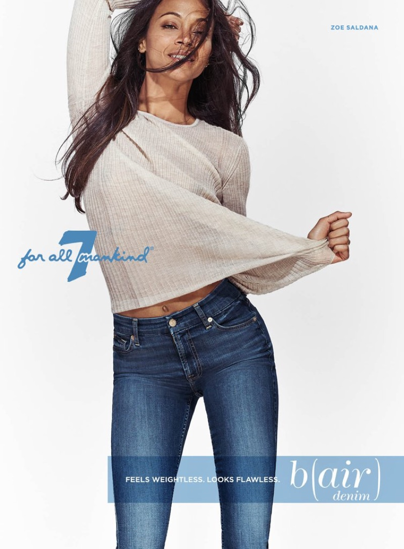 Zoe Saldana poses in barely there denim for 7 for All Mankind