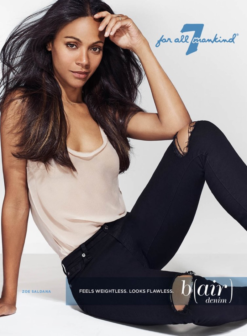 Zoe Saldana rocks ripped denim in 7 for All Mankind's new campaign