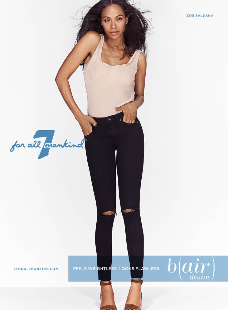 Zoe Saldana for 7 for All Mankind