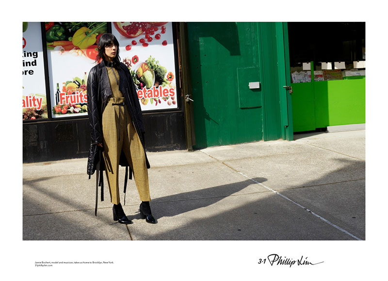 Jamie Bochert wears leather coat with shirt and pants from 3.1 Phillip Lim
