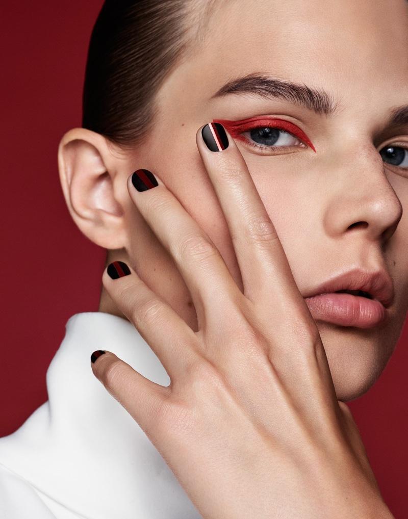 Adela Stenberg models red eyeshadow