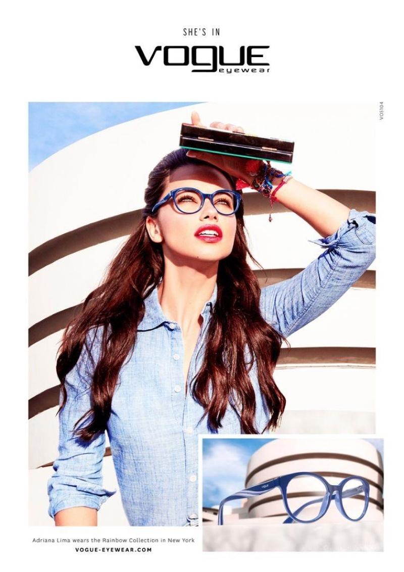 Adriana Lima stars in Vogue Eyewear's fall-winter 2016 campaign