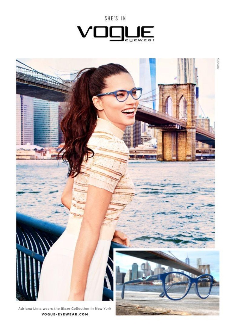 Adriana Lima poses in New York City for Vogue Eyewear