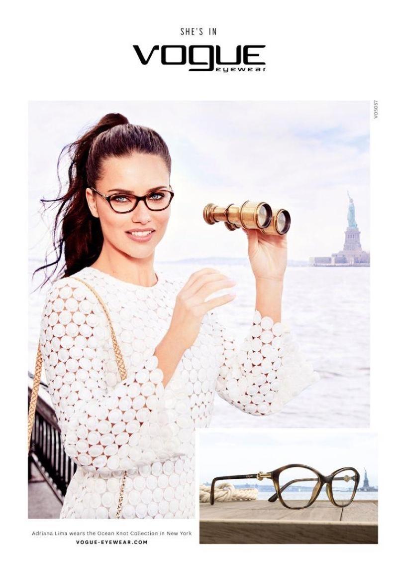 Adriana Lima models Vogue Eyewear Ocean Knot Collection