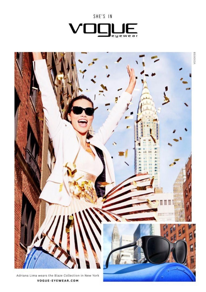 Adriana Lima poses next to the Chrysler Building for Vogue Eyewear's fall 2016 campaign