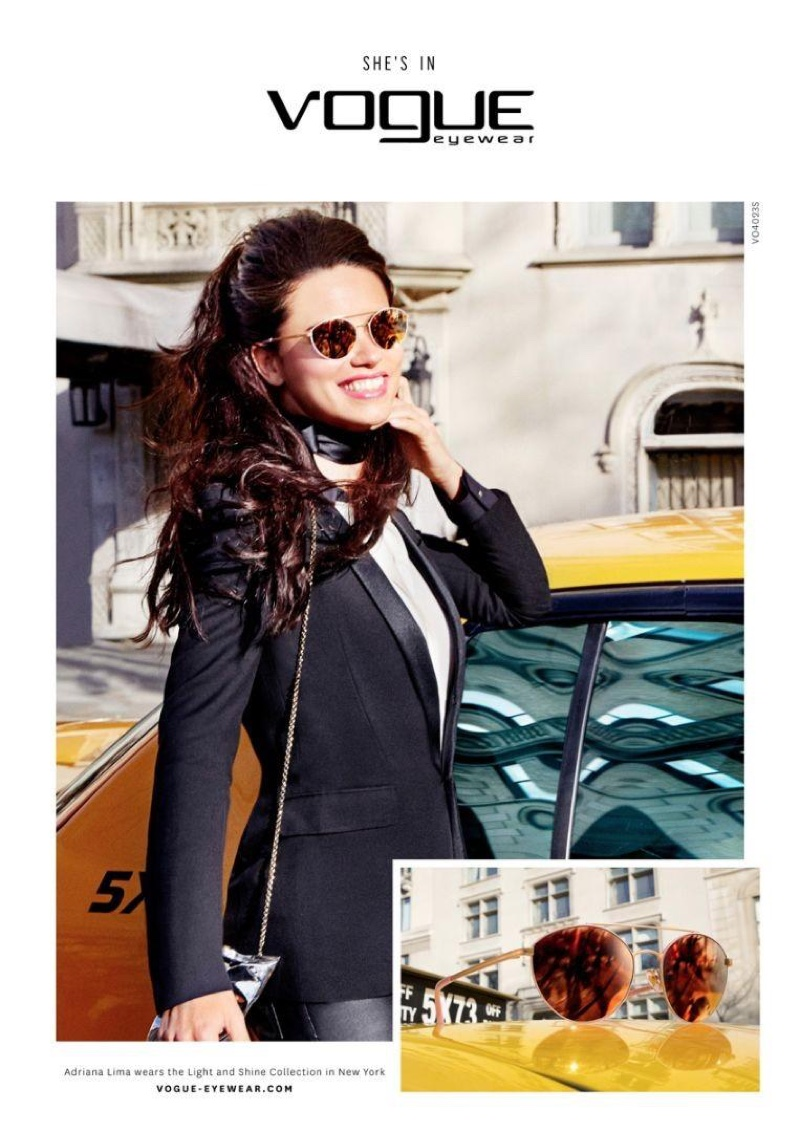 Adriana Lima is all smiles wearing the Light and Shine collection from Vogue Eyewear