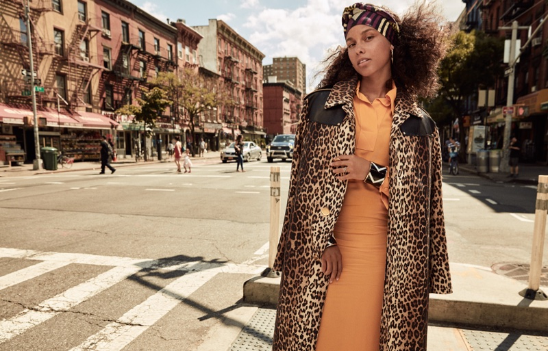 Photographed by Jason Kim, Alicia Keys poses on the streets of New York City
