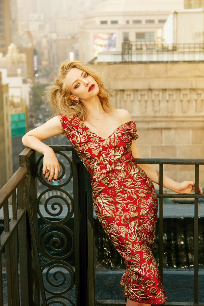 Amanda Seyfried wears red and gold embroidered dress from Prada