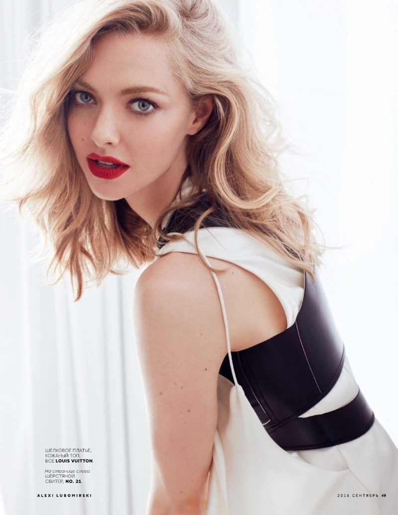 Amanda Seyfried Poses in Lounge-Worthy Looks for Vogue Russia