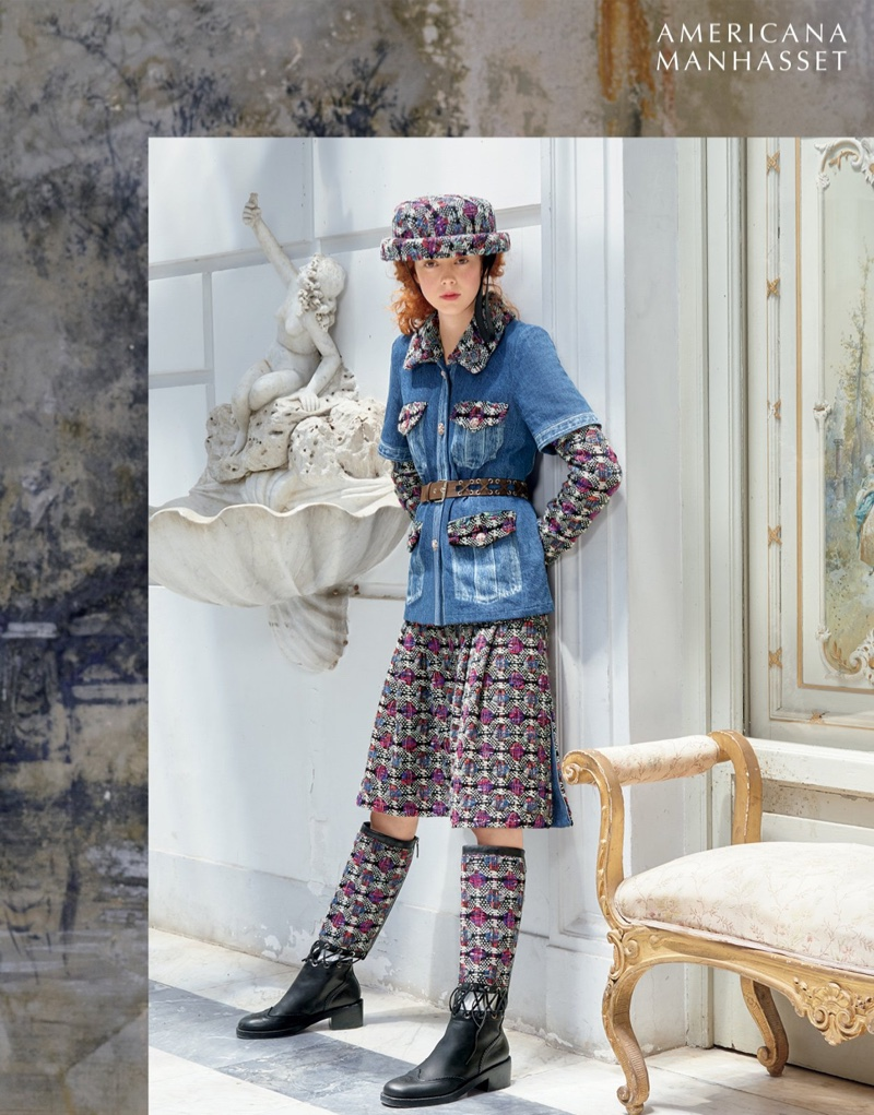 Americana Manhasset fall 2016: Chanel jacket, skirt, boots and hat