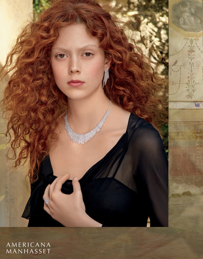 Natalie Westling wears her hair in luxurious curls with Messika jewelry