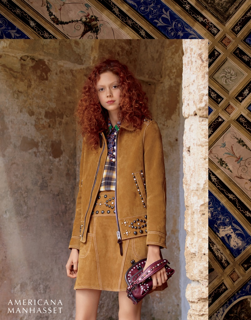 Natalie Westling poses in Coach jacket, top, skirt and bag in Americana Manhasset's fall 2016 campaign