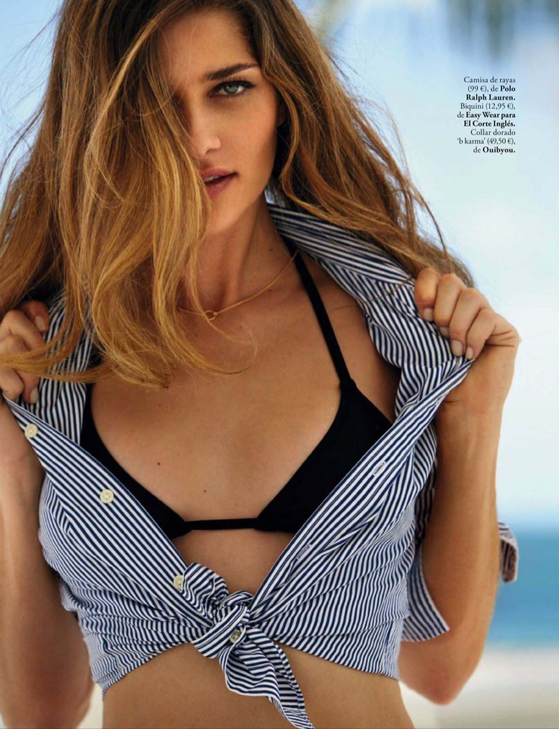 Ana Beatriz Barros wears striped shirt from Polo Ralph Lauren with Easy Wear by El Corte Ingles bikini top