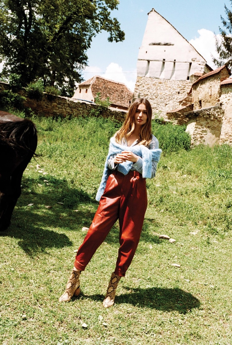 Andreea Diaconu embraces color in Michael Kors sweater and shirt with Nehera leather pants and Dries Van Noten boots