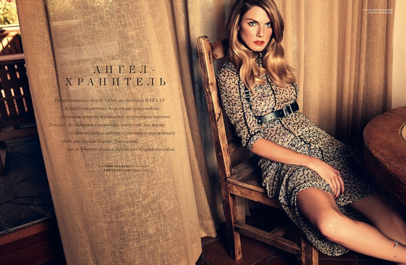 Angela Lindvall poses in her California home for the fashion editorial