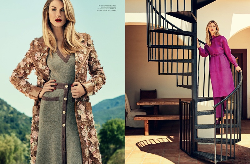 (Left) Angela Lindvall wears Chanel jacket and knit dress (Right) The model wears Celine tunic, trousers and mules