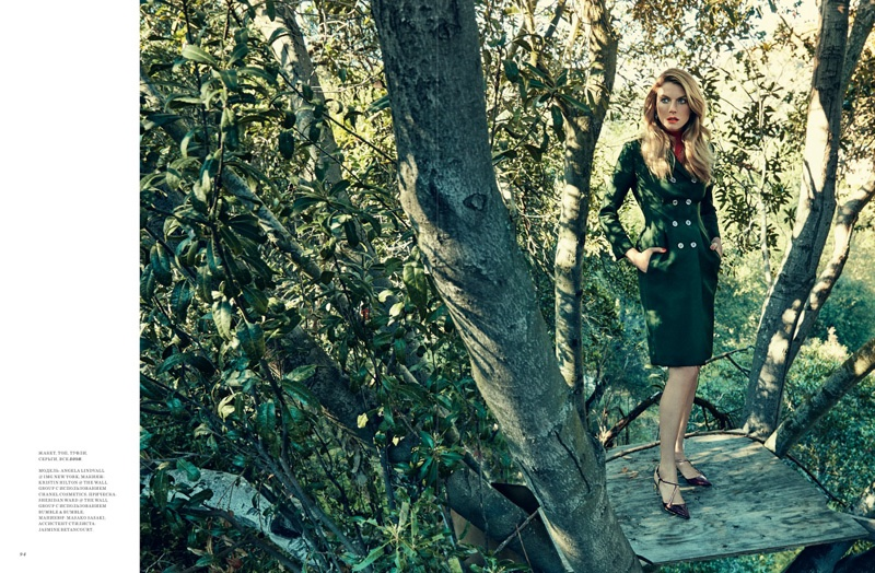 Angela Lindvall poses in jacket, top, shoes and earrings from Dior