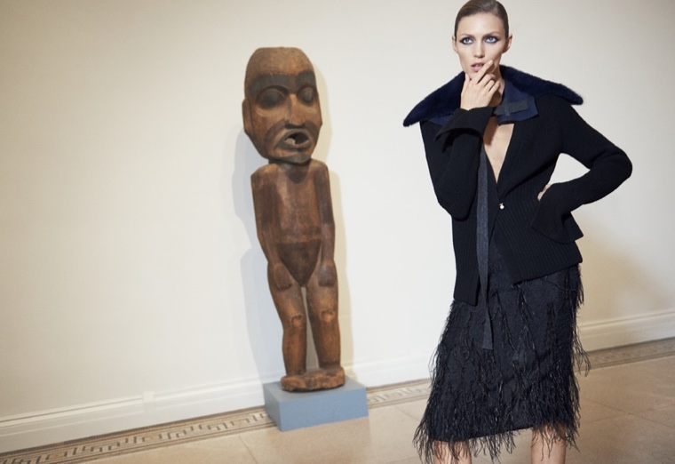 Anja Rubik poses in the Brooklyn Museum wearing Jason Wu sweater and skirt
