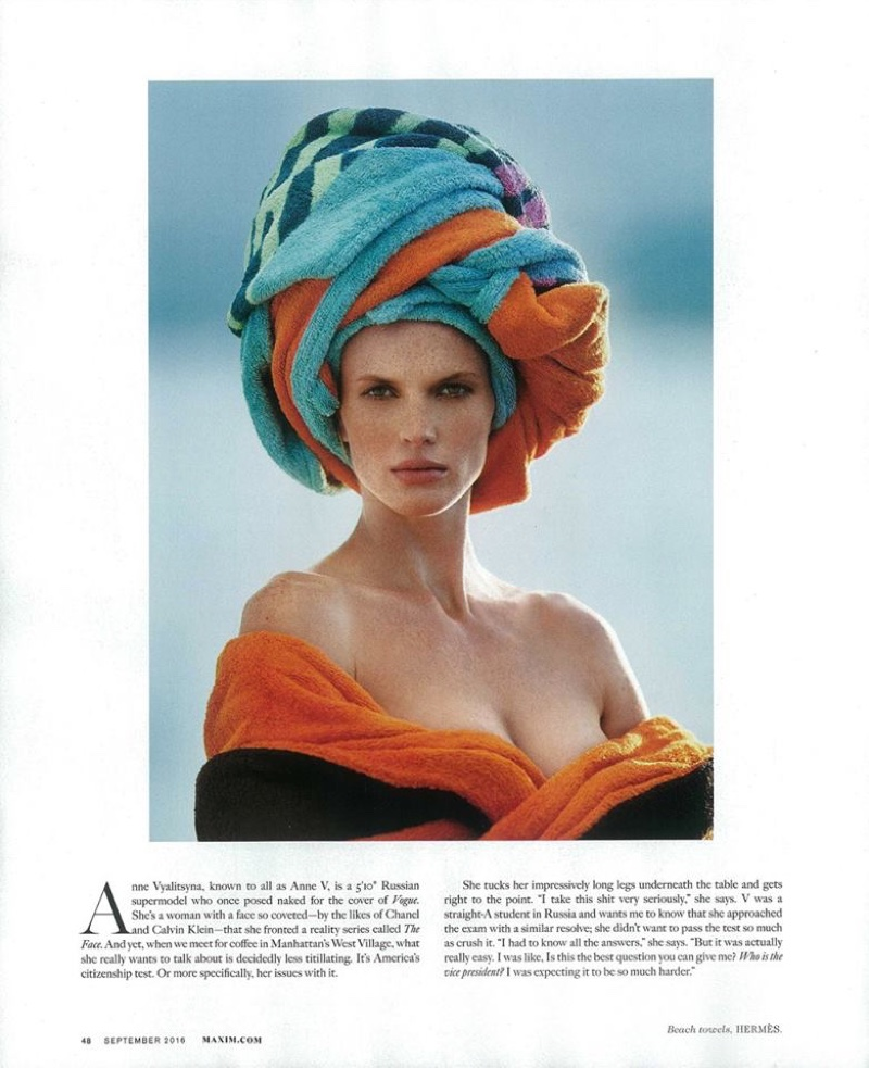 Anne Vyalitsyna wears her hair wrapped up with a robe