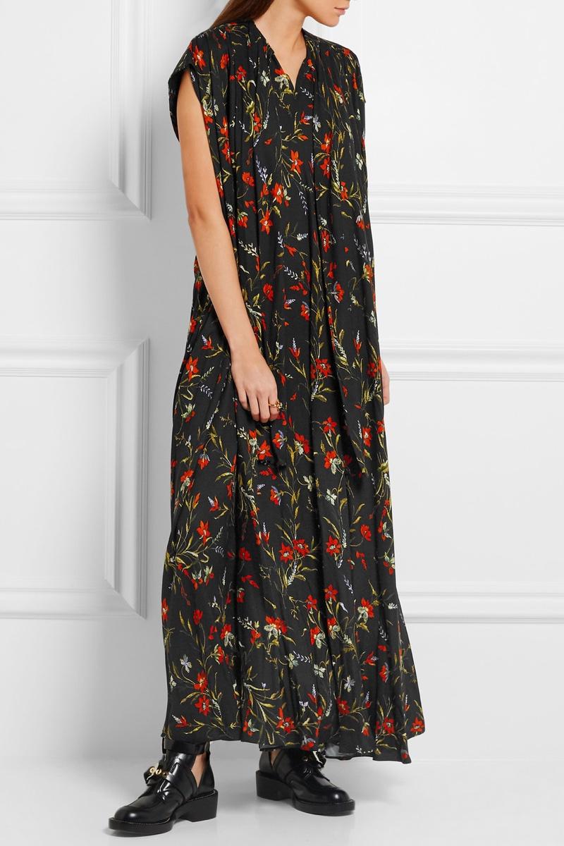 Balenciaga Floral Print Crepe Maxi Dress