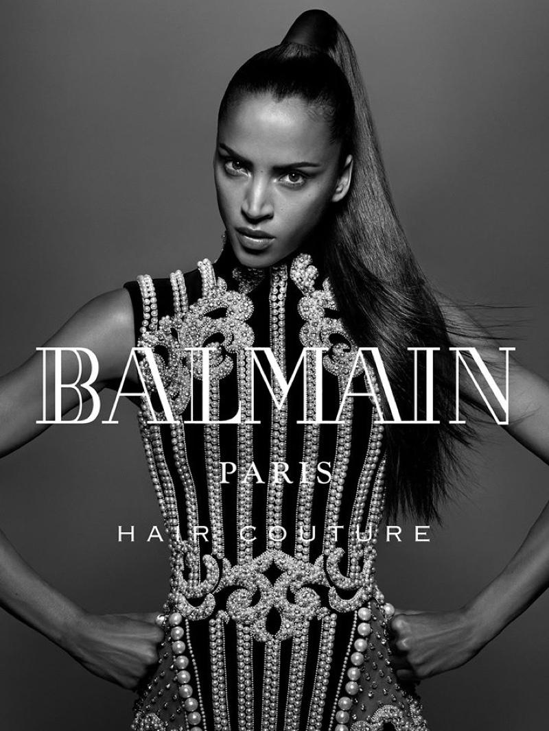 Noemie Lenoir wears sleek ponytail in Balmain Hair fall-winter 2016 campaign