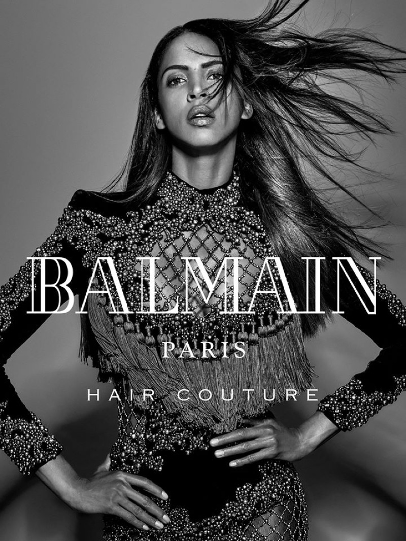 Sleek tresses featured in Balmain Hair Couture winter 2016 campaign