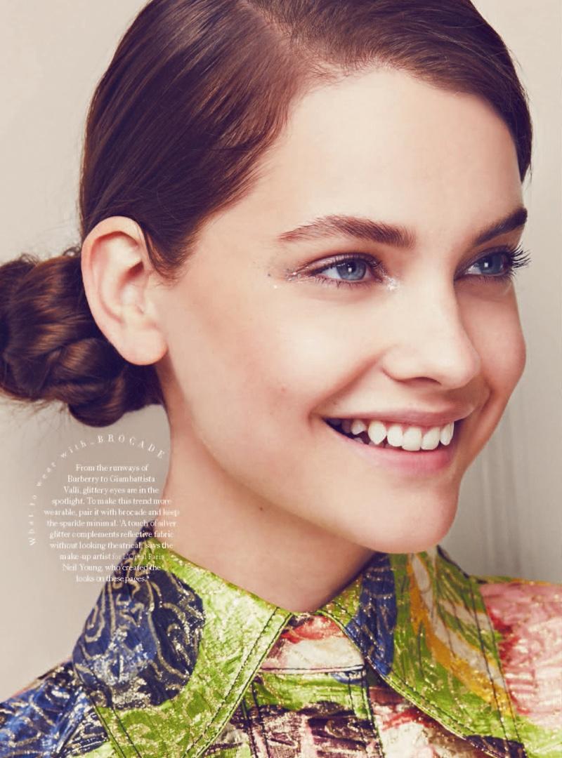 Barbara Palvin wears an elegant updo in the fashion spread