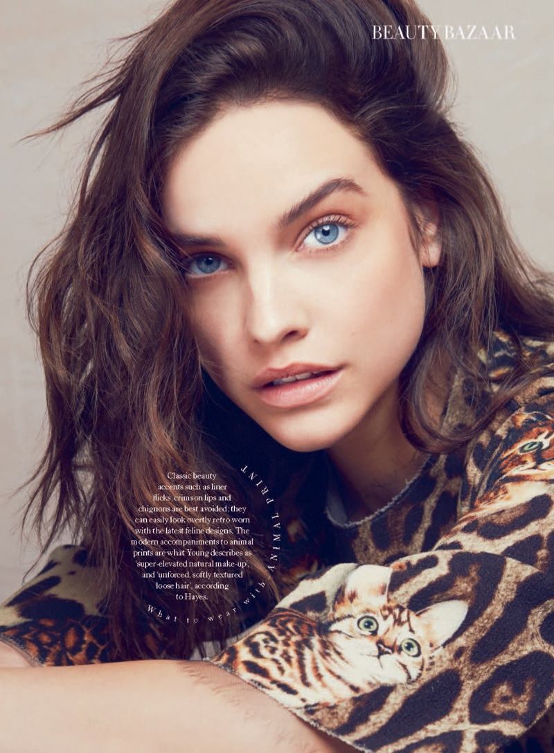 Barbara Palvin models her hair in tousled waves
