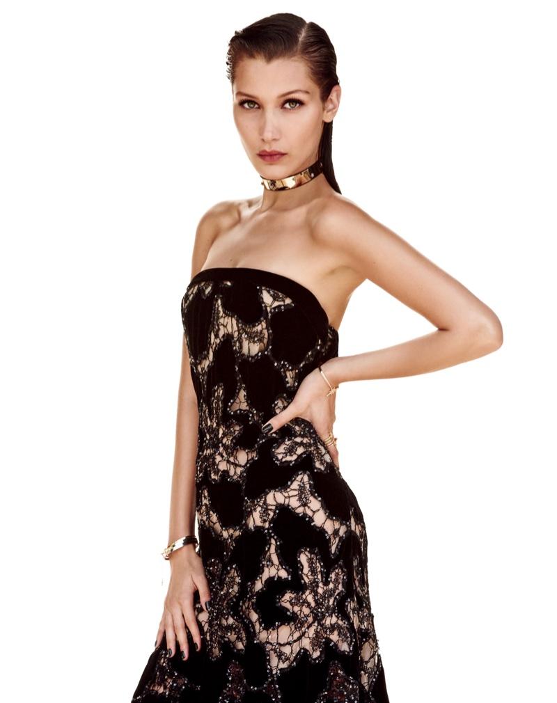 Bella Hadid wears strapless Giorgio Armani gown with embellishment