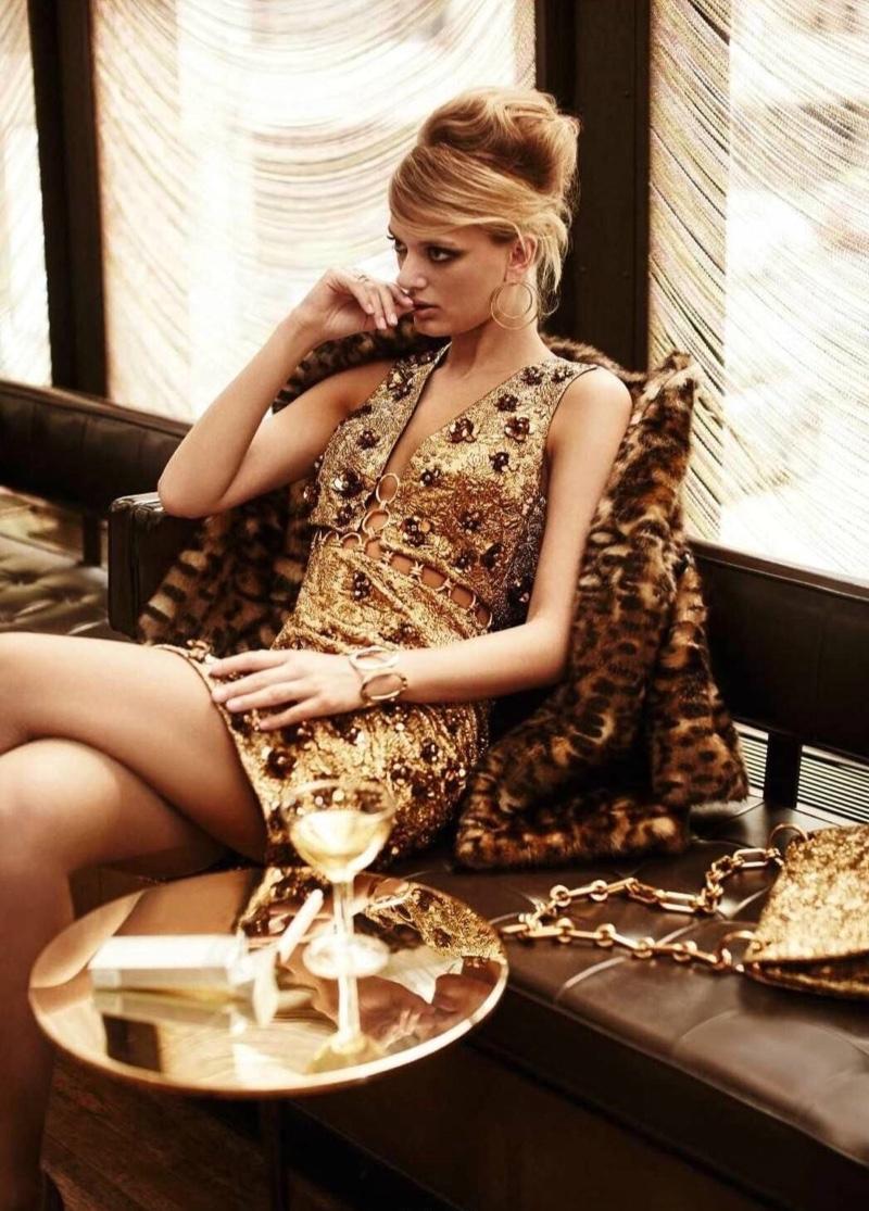 Bregje Heinen models Michael Kors Collection embellished dress and leopard print jacket