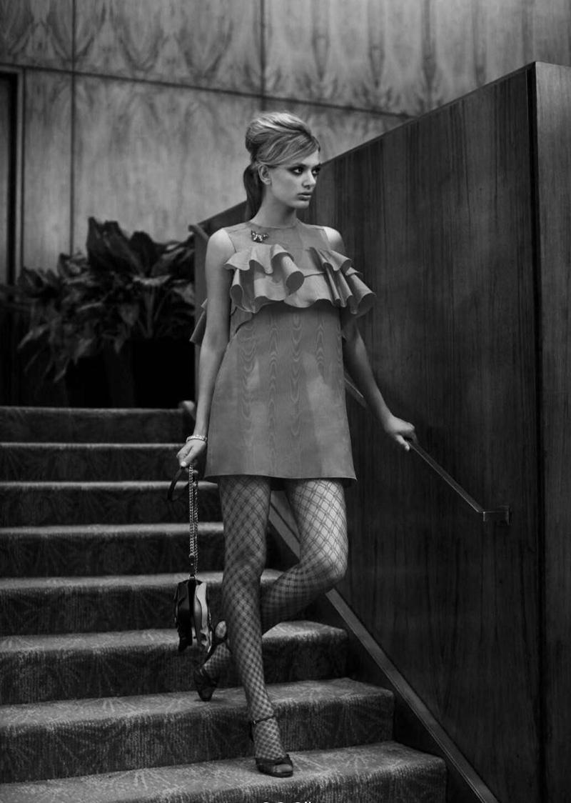 Bregje Heinen poses in Bally ruffle embellished minidress