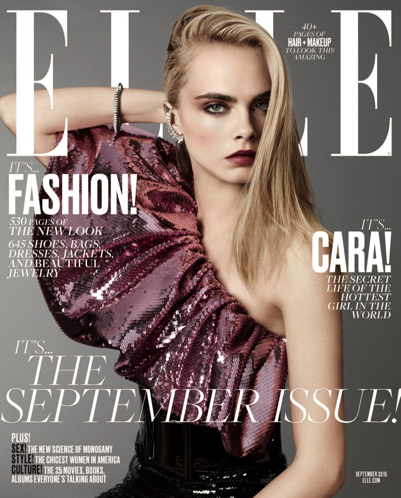 Cara Delevingne on ELLE Magazine September 2016 Cover
