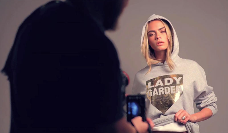 Cara Delevingne wears silver hoodie from Gynaecological Cancer Fund