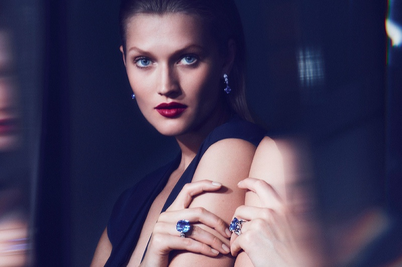 Toni Garrn poses for Cartier Magicien jewelry campaign